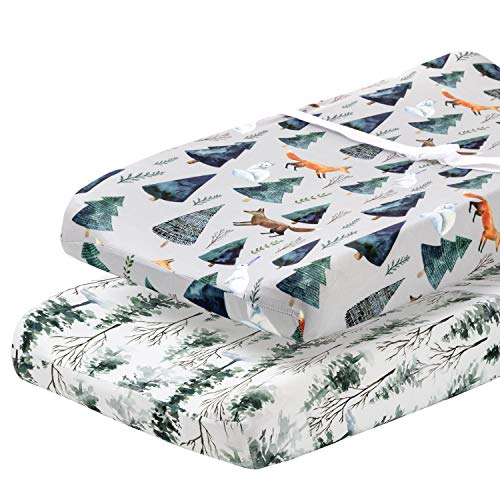 Pobibaby POBI Baby - 2 Pack Premium Quality Changing Pad Cover - Ultra-Soft Organic Cotton Blend, Stylish Animal Woodland Pattern, Safe and Snug for Baby (Magical)