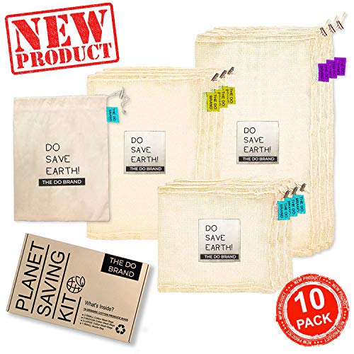THE DO BRAND Planet Saving Kit - Reusable Produce Bags | Organic Natural Cotton Mesh and Muslin bag for Grocery Shopping and Storage | 10 Pack Small Medium Large