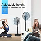 Pedestal Fan - Oscillating Standing Fan with Remote Built-in Powerful 12 Speed Settings and Timer - Adjustable Height and Tilt - Quiet DC Motor Stand Floor Fan for Bedroom and Home Office Use
