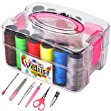 Sewing Kit Bundle with Best Scissors, Thimble, Thread, Needles, Tape Measure, Carrying Case and Accessories