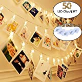 KAZOKU 50 Photo Clips String Lights Holder Picture Frames Dorm Lights, Wall Decor Indoor Fairy String Lights for Hanging Photos Pictures Cards Memos, Warm White Decoration Lights for Bedroom Dorms