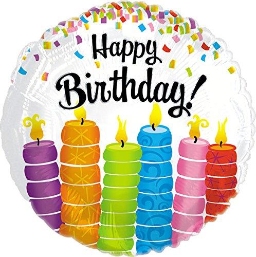 Creative Converting CTI Mylar Balloons, HBD Colorful Candles, 17