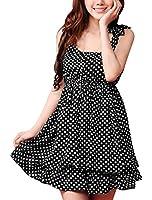 Allegra K Women Scoop Neck Sleeveless Dots Pleated Layered Dress