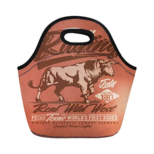 Semtomn Lunch Tote Bag Red Rodeo Raging Bull Western Hand Made Tee Graphic Reusable Neoprene Insulated Thermal Outdoor Picnic Lunchbox for Men Women