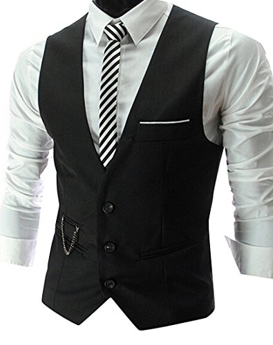 Orlando Johanson Comfortable Men's Dress Vest NeckTie Square Set for Suit or Tuxedo BlackUS - Orlando Fashion Square