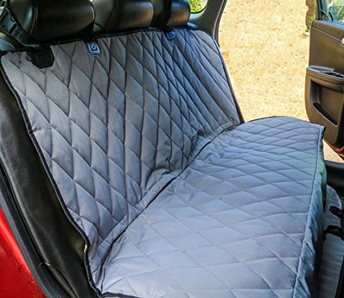 Plush Paws Ultra-Luxury Pet Seat Cover - 2 Bonus Harnesses 2 Seat Belts for Cars Trucks & Suv - XL Grey, Waterproof, NonSlip Silicone Backing