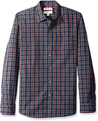 (Goodthreads Men's Slim-Fit Long-Sleeve Poplin Plaid Shirt, Navy Burgundy,)