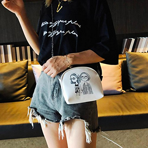 Blanc Femme Cabas JIANGfu sac cuir sac Main à imprimé animé Sac Femme main Mode messager Femme sac de en mode verni à Sac de dessin loisirs épaule FXqwHxPFr
