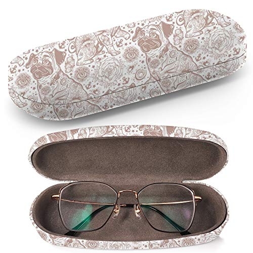 Hard Shell Glasses Protective Case with Cleaning Cloth for Eyeglasses and Sunglasses - Vintage Style Traditional Tattoo Flash
