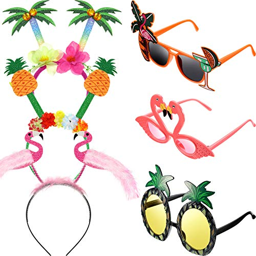 6 Pieces Funny Party Costume Include Funny Sunglasses and Party Head Bopper, Summer Party Photo Booth Props, Novelty Party Supplies Decoration for Kids -