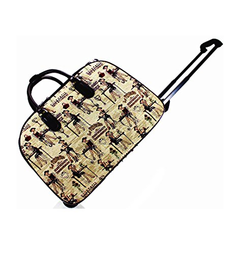 LeahWard? Large Size Holdall Luggage Travel Bag With Wheel (L.BLUE BUTTERFLY) Wn013-beige