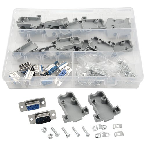 XLX 10Pcs(5 Pair) DB9 9 Pin Female to Male Solder Type Connectors And 10Set Gray Plastic Hoods Complete Set Of Crimp Connector Assortment Kit