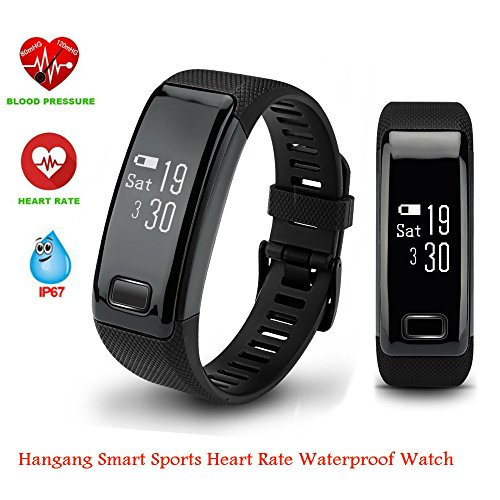 Hangang Smart Wristband Fitness Tracker C9 Smart Watch Sports Bracelet Activity Tracker Bluetooth Band Heart RateBlood Presure Bracelet Detection Pedometer Tracker for Android and IOS (black)