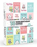 16 x Children's KIDS Birthday Cards by Joy Masters Vol.4 | Cute OWLS!