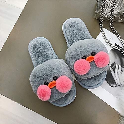 Felpa Gray De Linda Zapatillas Hogar Mes Versión Para Cálido Mujer Invierno Zapatos Antideslizante Algodón Casa Coreana El Interior Posparto UwzwI