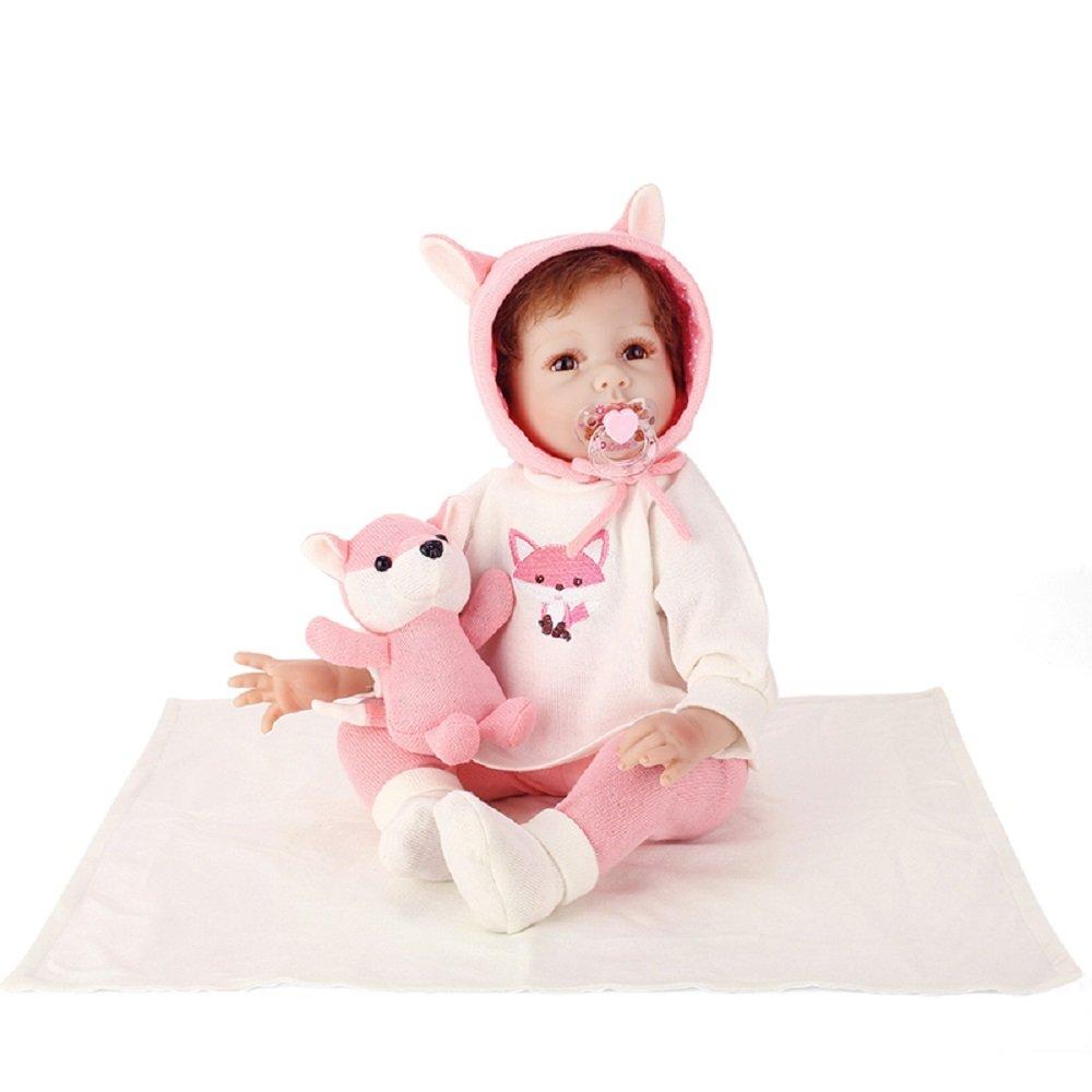 Barato Nicery Reborn - Muñeca de bebé de simulación suave de silicona de 48 a 55 cm, juguete para niña con diseño de boca magnética realista, con traje para Acción de Gracias, color negro, frigorífic