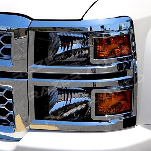 Razer Auto Triple Chrome Plated Headlight Trim cover for 2014-2016 Chevy Silverado 1500