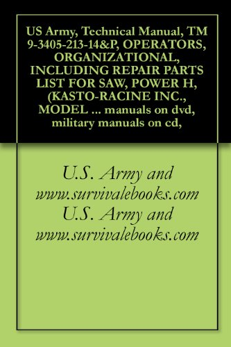 US Army, Technical Manual, TM 9-3405-213-14&P, OPERATORS, ORGANIZATIONAL, INCLUDING REPAIR PARTS LIST FOR SAW, POWER H, (KASTO-RACINE INC., MODEL 1010), ... manuals on dvd, military manuals on cd, (S & S Appliance Parts & Service Llc)