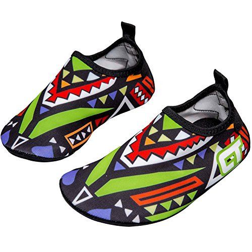 MOERDENG Girls Boys Lightweight Water Shoes Soft Barefoot Shoes Quick-Dry Aqua Socks,Green,11-12 M US Little Kid
