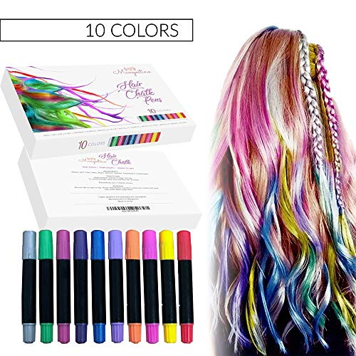 Hair Chalk for Girls- 10 Colorful Hair Chalk Pens for Kids - Temporary Hair Coloring -Safe & Non-Toxic Formula - Ideal Christmas or Birthday Gift for Girls - Works on All Hair Colors