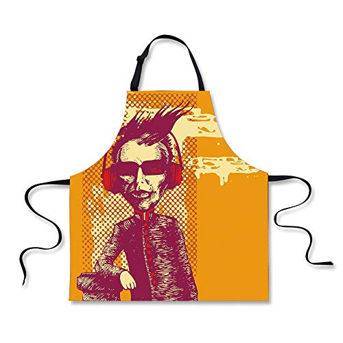 BBQ Apron,Modern,Grotesque Man in Headphones Listening Music Culture with Grunge Illustration Decorative,Marigold Maroon, Apron.29.5