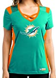 Miami Dolphins Women's Aqua Draft Me Jersey V-Neck T-shirt