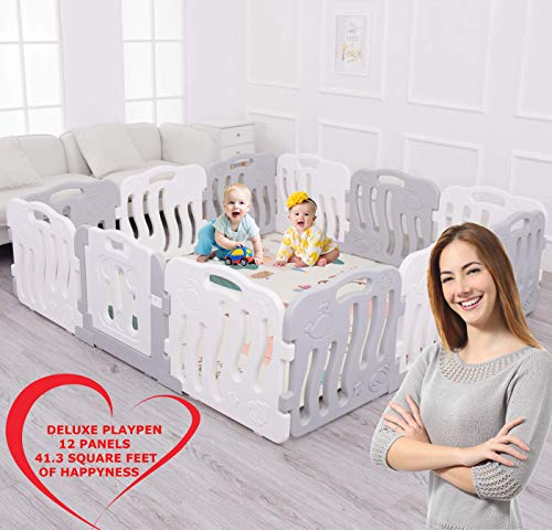 Deluxe Baby Care - Baby Playpen Kids Activity Centre Safety Play Yard 12 Panels Extra Large Portable Fence Home Indoor Outdoor Deluxe Safe Pen 77