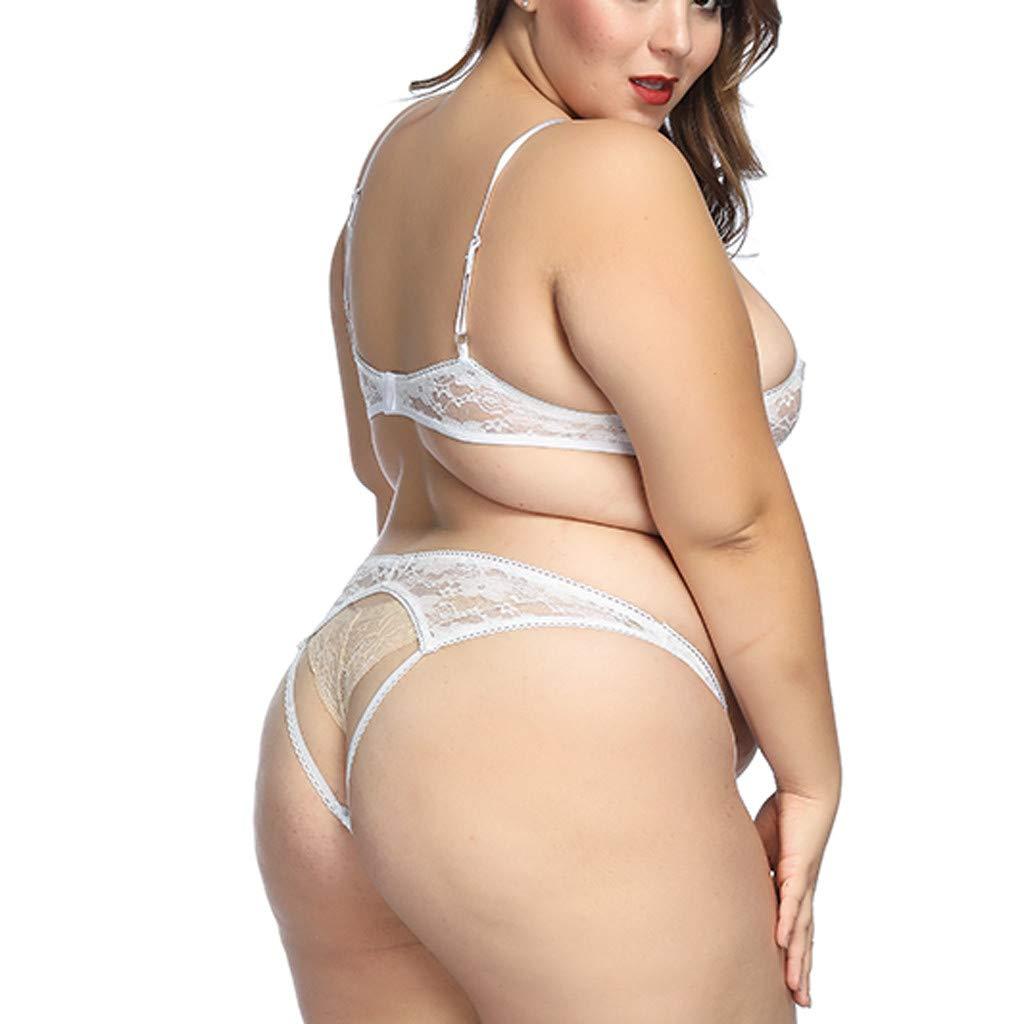 Internet_Lencería Sexy de Gran tamaño, Sujetador + Bragas, Mujer Conjunto De Lencería Sexy, Perspectiva Ropa de Dormir, Encaje Mujeres Sexy Encaje Malla, ...