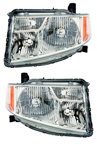 For 2009 2010 2011 Honda Element Ex/Lx Headlights Headlamps Assembly Driver Left and Passenger Right Side Pair Set Replacement HO2518130 HO2519130