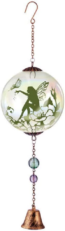 Grasslands Road Fairy Bell Orb Hanging Decorations - Home Garden Yard Hanging Décor - New Home Gift, Metal and Glass, 16 1/2 by 4 3/4 Inches, Green