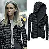 Fashion Sweater, Egmy 1PC Women Long Sleeve Winter Hooded Coat Zipper Jacket (XL, Black)