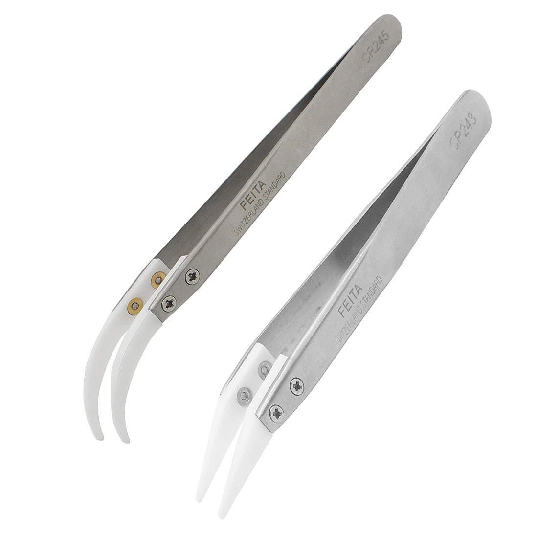 FEITA Ceramic Tweezer Set Ceramic Precision Tweezers for Vaping, Coil Master, Hobbies - NO More Broken Tips! ( 2-Pcs) by FEITA