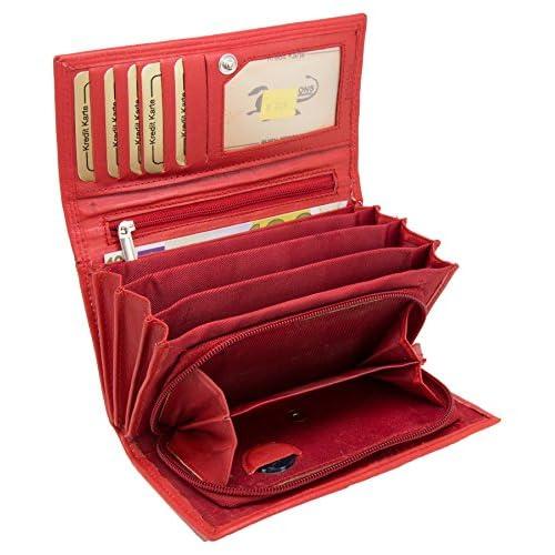 Rote Damengeldbörse Portemonnaie Leder Geldbörse Wallet Leather Viele Fächer NEU