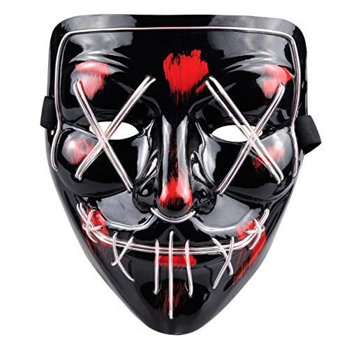 PINFOX Light Up Led Mask Flashing El Wire Glow Scary Mask Rave Costumes for Party, Halloween (White) ()