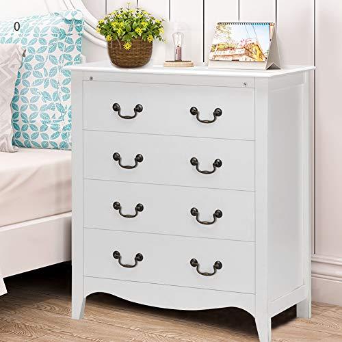 Antique Bedside Cabinet - WATERJOY 4-Drawer Chest Dresser Storage Cabinet, Bedroom Nightstand End Side Dress (33.5''Lx 17.5''W x 38''H)