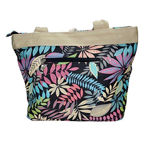 Leaves Vintage Bag Handbag AiSi Beach Holiday Shoulder Button Canvas Red Tote gAgv4