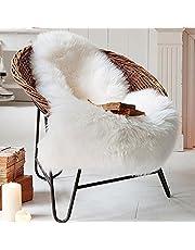 Yaer Faux Fur Sheepskin Rug 60 x 90 cm Faux Fleece Chair Cover Seat Pad Soft Fluffy Shaggy Area Rugs (White)