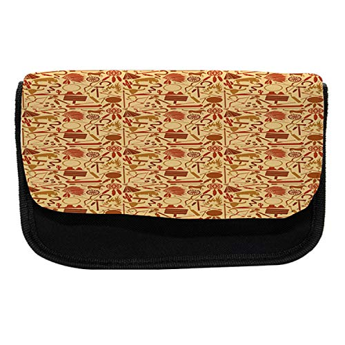 Ambesonne Western Pencil Case, Hat Snakes Bison Folklore, Fabric Pen Pencil Bag with Double Zipper, 8.5