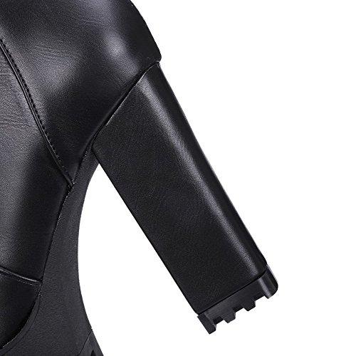 Boots Black Toe Round Heels Solid AgooLar Pu Zipper High xq7pU8wg0