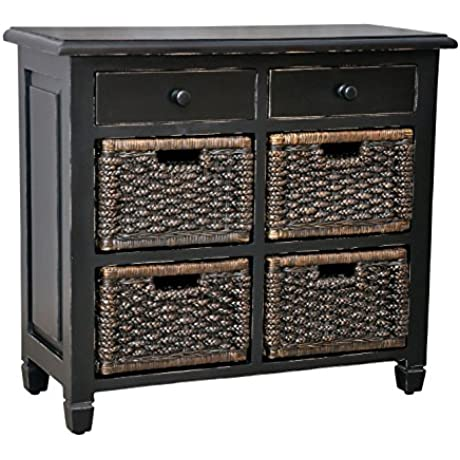 Casual Elements St Lucia Storage Unit With Antique Brown Baskets Light Distressed Black