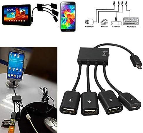EisEyen - Adaptador Micro USB de 4 Puertos para Smartphone, Tablet y teléfono móvil: Amazon.es: Hogar