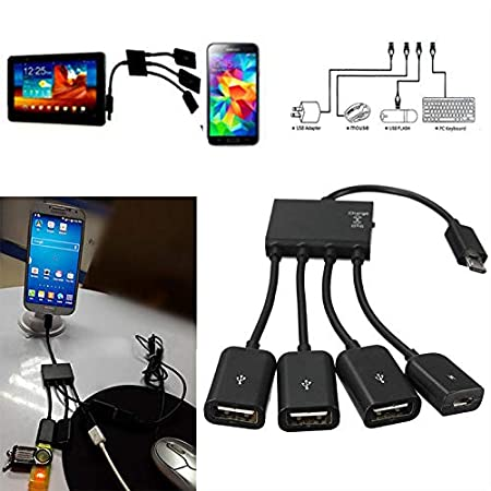 EisEyen - Adaptador Micro USB de 4 Puertos para Smartphone, Tablet ...