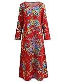 Romacci Vintage Women Maxi Floral Dress Long Sleeves Pockets O Neck Plus Size Cotton Linen Loose Robe Dress Red