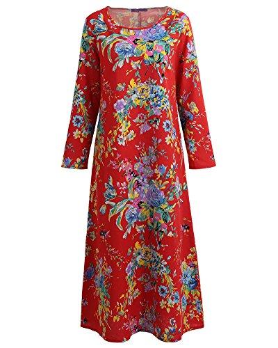 Imprimé Vintage Femme En Floral Romacci Robe Maxi Longues Coton Lâche Manches Rouge xBoeCd