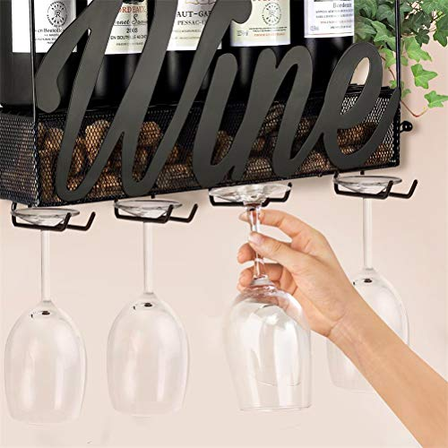 CSmile Iron Wine Rack Wall Mounted Black Wine Glass Rack Wine Cork Holder Gifts Come with Wine Opener by CSmile (Image #2)
