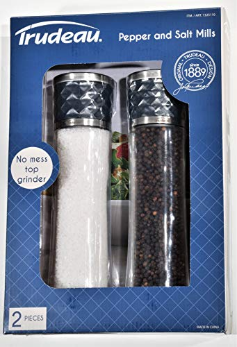 Trudeau 10 Inch Salt and Pepper Mill Set with Stainless Steel Caps Filled with Peppercorns and Sea Salt Crystals