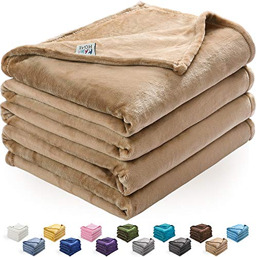 Price comparison product image kawahome Camel King Flannel Fleece Luxury Blanket Super Soft Plush Microfiber Solid Fabric Cozy Fuzzy Blanket for Bed Lightweight Couch/Sofa Blanket (108 x 90 Inch)