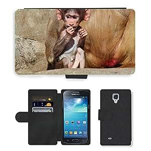PU LEATHER case coque housse smartphone Flip bag Cover protection // M00129337 Babuino Papio Hamadryas babuinos // Samsung Galaxy S4 Mini i9190