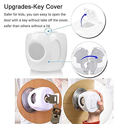 Vinkki Door Knob Safety Cover for Kids (4 Pack) Children Safety Doorknob Handle Cover Lockable Design Keep Baby from Opening Doors White