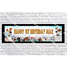 Personalized The Secret Life of Pets Banner - Includes Color Border Mat, With Your Name On It, Party Door Poster, Room Art Decoration - Customize